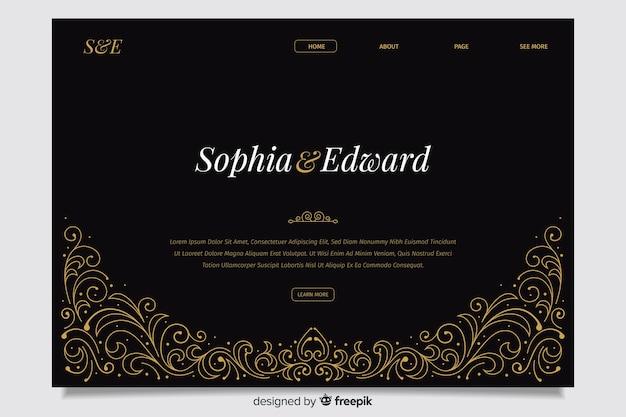 Page de destination de mariage noir