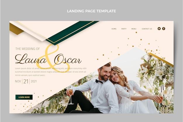 Page de destination de mariage d'or de luxe réaliste