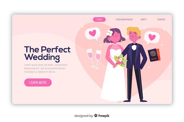 Page de destination de mariage parfait