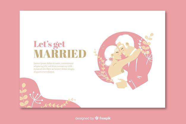 Page de destination de mariage rose