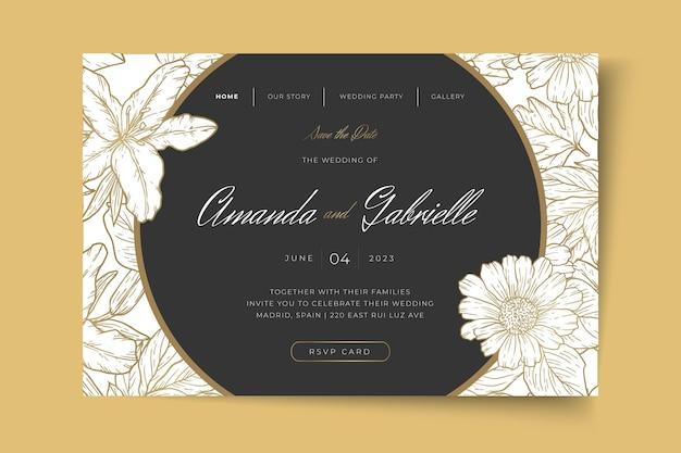 Page de destination de mariage de style minimal