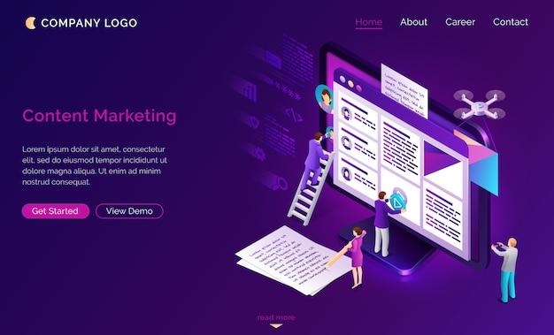 Page de destination sur le marketing de contenu