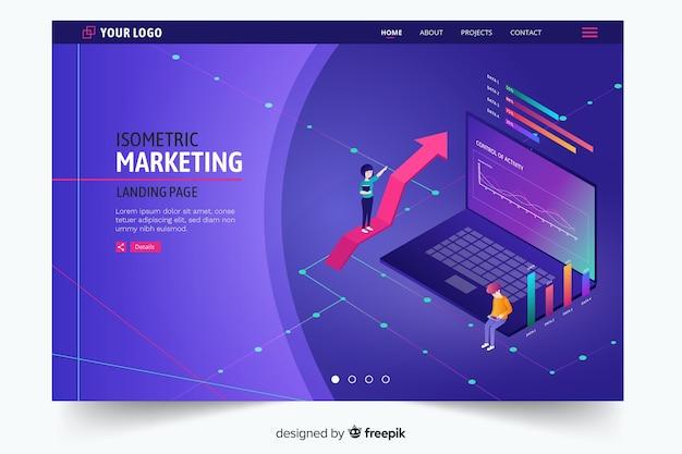 Page de destination marketing isométrique violet foncé
