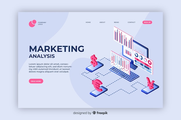 Page de destination marketing isométrique