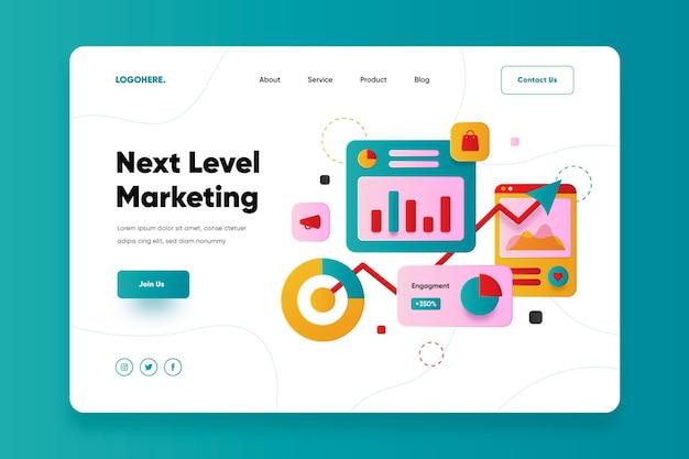 Page de destination de marketing en ligne design plat
