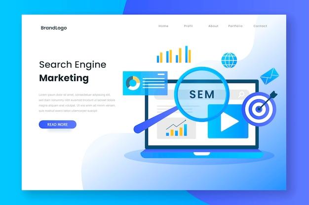 Page de destination marketing sur les moteurs de recherche