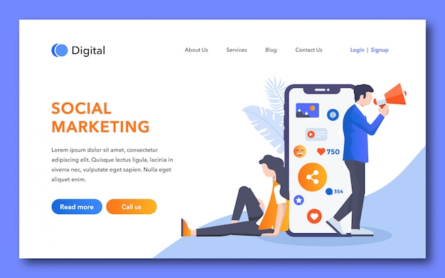 Page de destination de marketing social