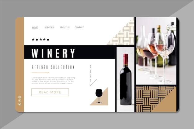 Page de destination de la marque de vin