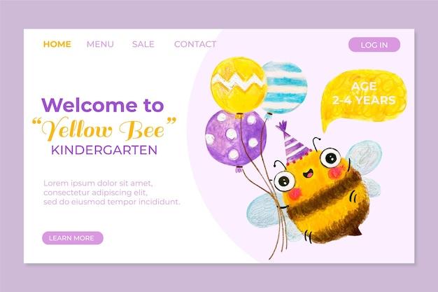 Page de destination de la maternelle abeille jaune
