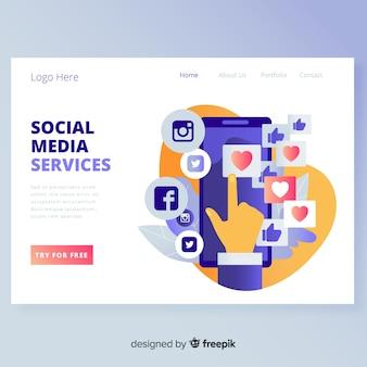 Page de destination des médias sociaux modernes