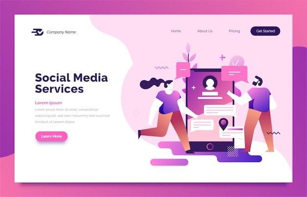 Page de destination des médias sociaux pour le web