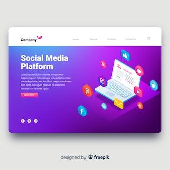 Page de destination des médias sociaux