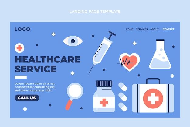 Page de destination médicale de conception médicale plate