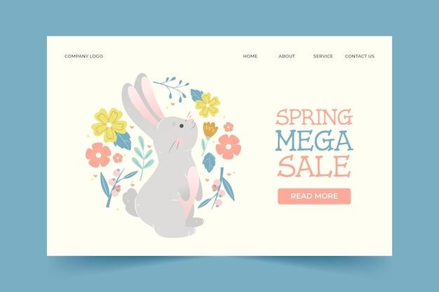 Page de destination de méga vente de printemps dessiné à la main