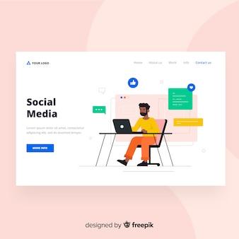 Page de destination minimale des médias sociaux