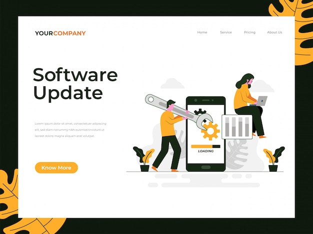 Page de destination de la mise à jour logicielle