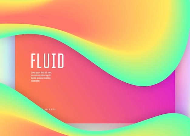 Page de destination. mobile souple, conception d'écran. maille dégradée vive. toile de fond holographique 3d avec mélange tendance moderne. page de destination avec des éléments dynamiques liquides et des formes fluides.