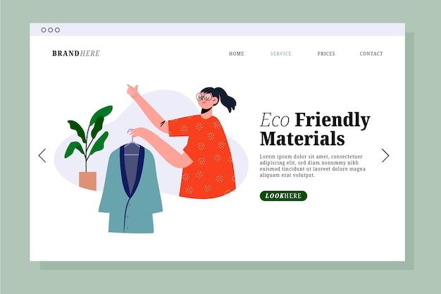 Page de destination de la mode durable dessinée à plat