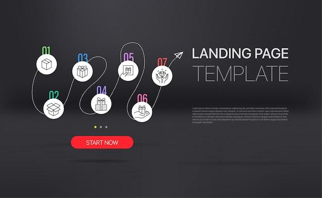 Page de destination avec modèle infographique.
