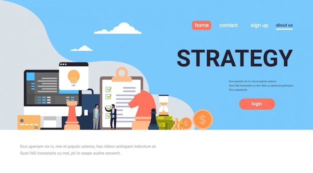 Page de destination ou modèle de site web avec thème de stratégie de remue-méninges