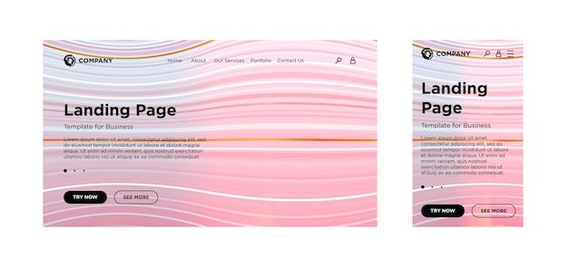 Page de destination modèle vierge pc de bureau et version adaptative mobile arrière-plan géométrique minimal