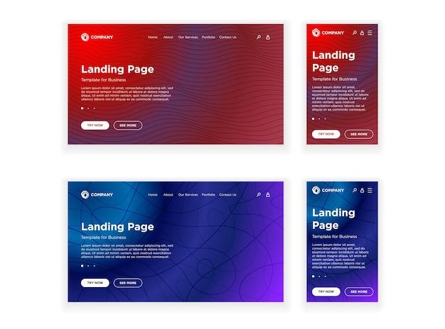 Page de destination modèle vierge pc de bureau et version mobile adaptative définie un arrière-plan géométrique minimal