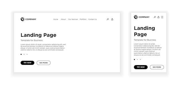 Page de destination modèle vierge pc de bureau et version mobile adaptative mise en page du site fond blanc