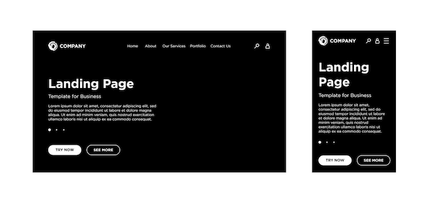Page de destination modèle vierge pc de bureau et version mobile adaptative mise en page du site fond noir