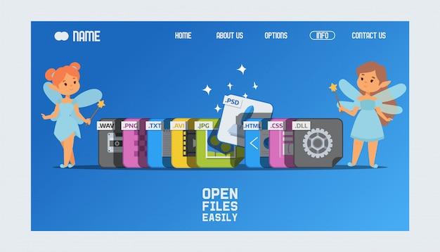 Page de destination ou modèle web avec extensions de fichier et fées avec baguettes magiques aidant à ouvrir le format psd.