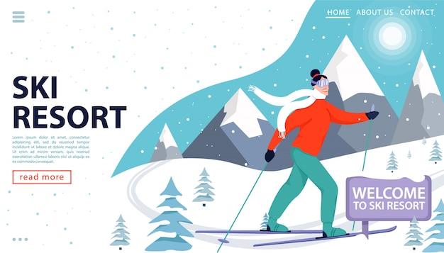 Page de destination ou modèle web avec une femme heureuse, ski dans les montagnes.