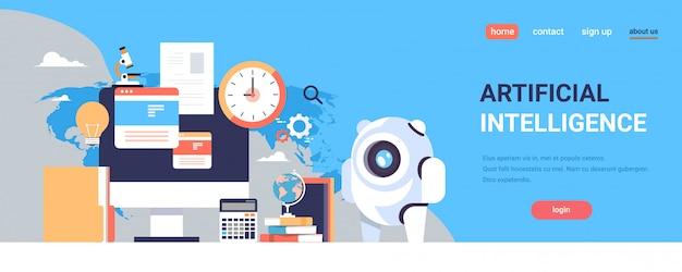 Page de destination ou modèle web avec illustration, thème de l'intelligence artificielle