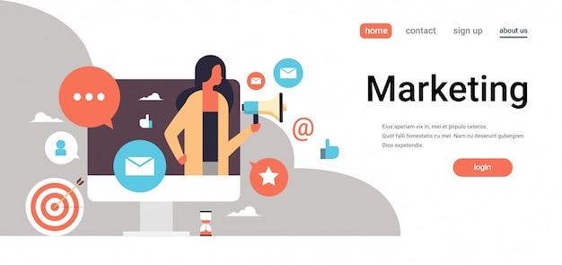 Page de destination ou modèle web avec illustration, thème marketing