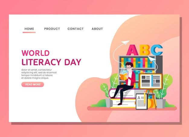 Page de destination ou modèle web. journée mondiale de l'alphabétisation avec un homme lisant un livre