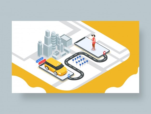 Page de destination ou modèle web de réservation de taxi en ligne.