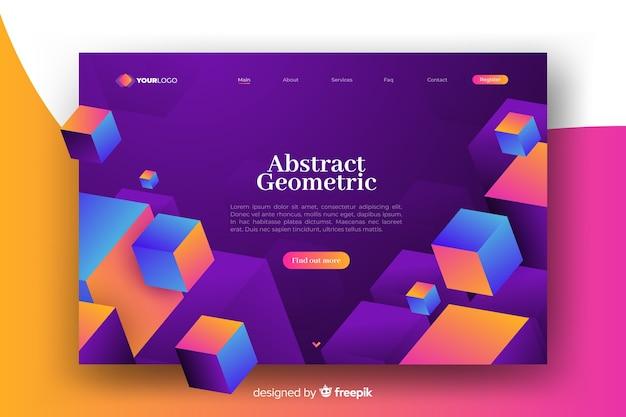 Page de destination avec des modèles géométriques 3d