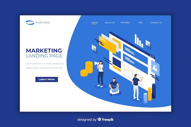 Page de destination moderne avec concept marketing