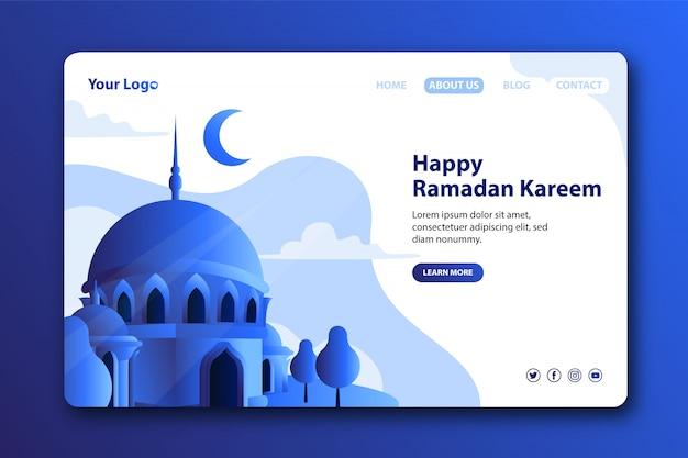 Page de destination moderne pour le mois de ramadan