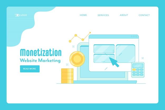 Page de destination de la monétisation du site web