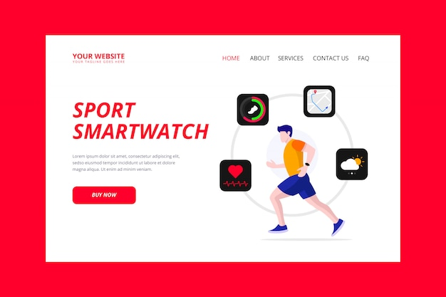 Page de destination de la montre intelligente sport