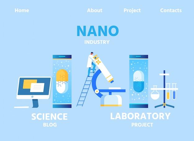 Page de destination de la nano-industrie pour le blog et le lab center