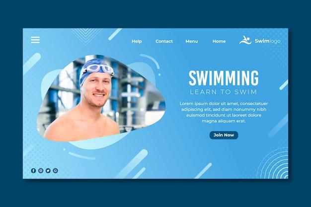 Page de destination de natation avec photo d'homme