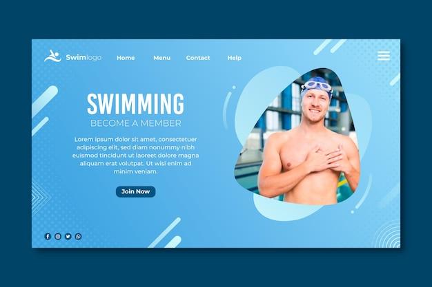 Page de destination de natation