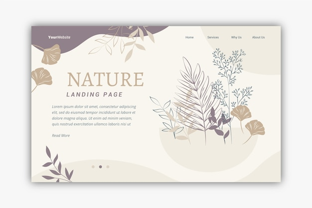 Page de destination nature dessiné main modèle