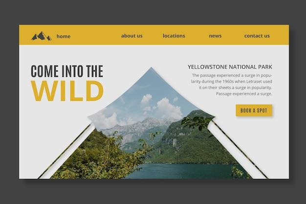 Page de destination de la nature sauvage