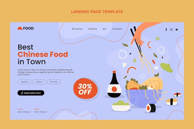 Page de destination de la nourriture au design plat