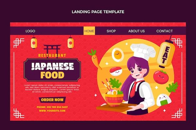 Page de destination de la nourriture de style plat