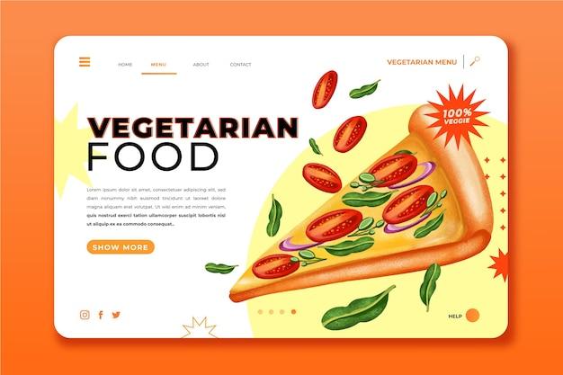 Page de destination de la nourriture végétarienne à l'aquarelle