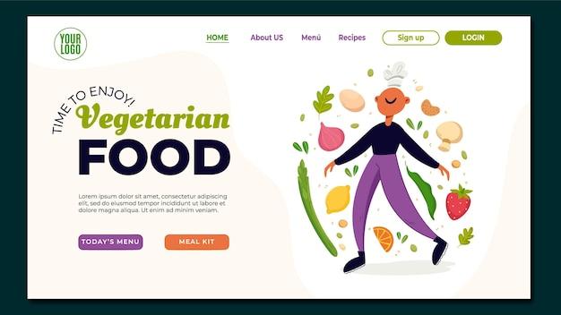 Page de destination de nourriture végétarienne design plat dessiné à la main