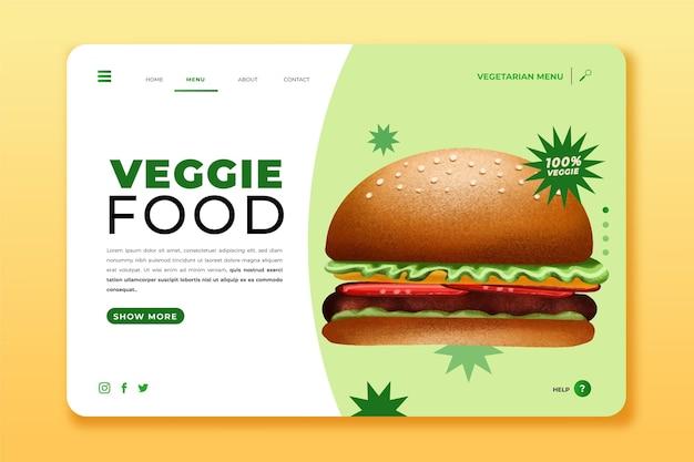 Page de destination de nourriture végétarienne dessinée à la main