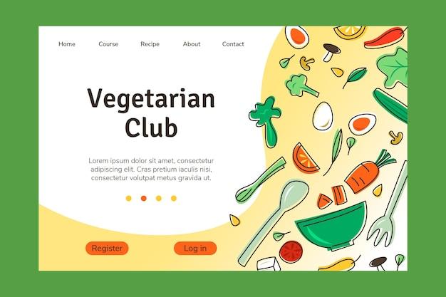 Page de destination de la nourriture végétarienne dessinée à la main